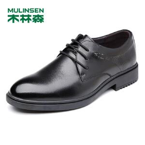 木林森男鞋 男士商务皮鞋男系带英伦尖头 2017秋季新品办公室皮鞋77053104
