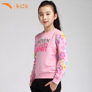 安踏女孩卫衣套头纯棉新款中大童运动上衣儿童春装打底衫36716704