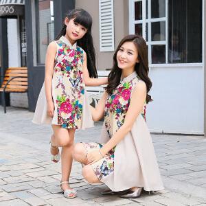 【当当年中庆】波柏龙 亲子装女童旗袍母女新款宝宝唐装连衣裙儿童春装小孩衣服6625
