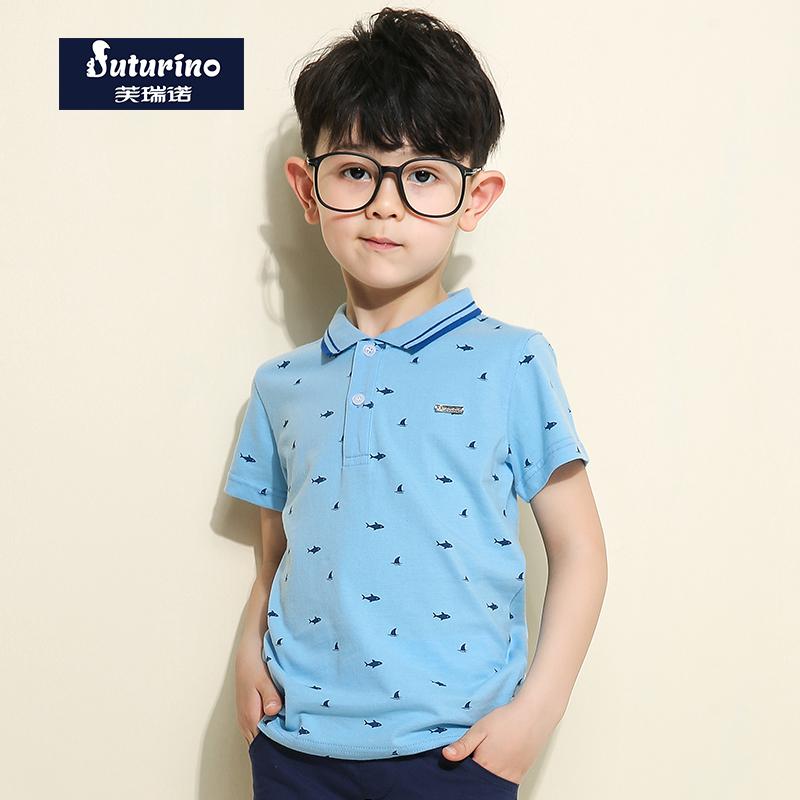 芙瑞诺童装男童夏装新品简约卡通趣味满印小鱼短袖纯棉T恤