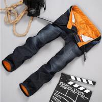 秋冬季加绒牛仔裤韩版中腰直筒牛仔长裤青少年保暖劳动布长裤 25206