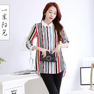 一米阳光2017春款韩版中长款雪纺衬衣宽松休闲上衣条纹衬衫女