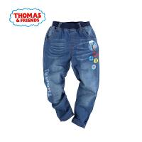 托马斯童装正版授权春季新款男童牛仔裤火车头印花中童牛仔长裤