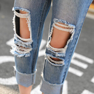 款潮破洞牛仔裤女宽松哈伦裤小脚裤个性乞丐裤