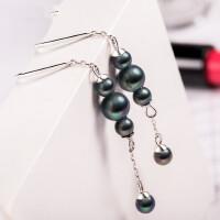 925纯银耳环 长款耳坠黑珍珠耳钉女耳线耳饰品时尚百搭