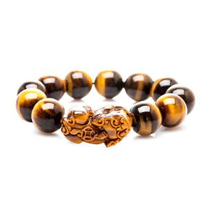 芭法娜 貔貅 天然黄虎眼石(虎睛石)16mm大珠径男士手链