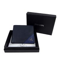 PRADA蓝色拼色款卡位钱包 2m0513