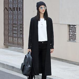 【AMII超级大牌日】[极简主义]2017年春立领大码针织长袖中长款毛衣外套女11682046