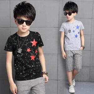 【当当年中庆】2017新款童装男童星星条纹套装童装两件套韩版潮纯棉