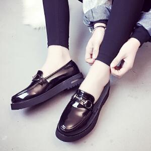 妃枫霏新款欧美复古时尚单鞋女士休闲鞋圆头厚底套脚小皮鞋漆皮单鞋