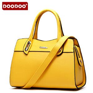 【支持礼品卡】DOODOO 2017新款包包女包欧美OL手提包真皮质感杀手包手拎包单肩斜挎女式包包 D4088