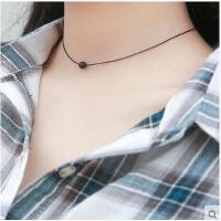 韩国时尚学生脖颈链短款百搭颈带项圈珍珠吊坠S925银项链女锁骨链简约