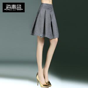 海青蓝2017春季新款纯色修身显瘦百褶裙子时尚百搭气质半身裙6415