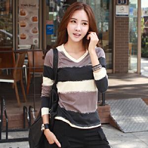 2017春装韩版新品长袖条纹拼色V领纯棉打底衫长袖T恤女装上衣潮