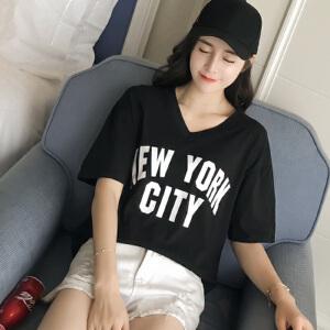 2017韩版百搭女士新款体恤上衣夏季短袖