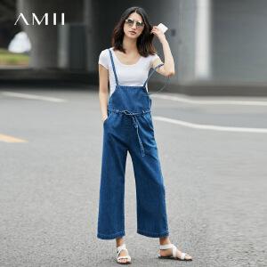 Amii2017春新宽松腰带插袋阔腿牛仔吊带九分裤11721023
