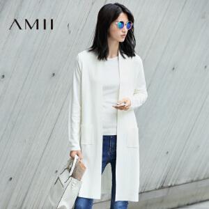 【AMII超级大牌日】[极简主义]2017年春女新款纯色拼接大码中长款毛针织衫11672878