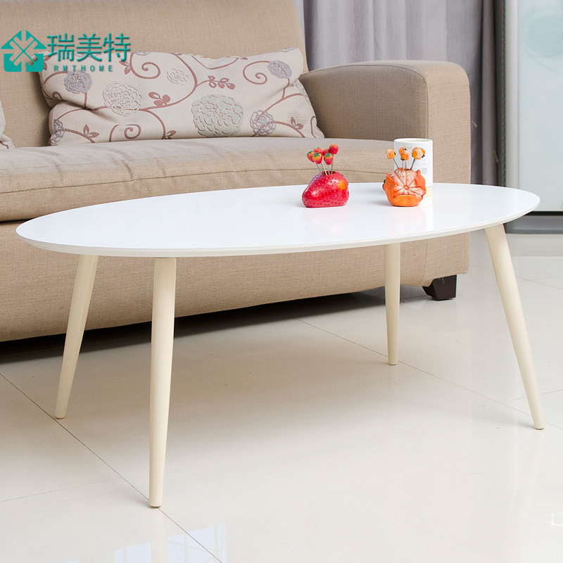 小户型椭圆形茶几现代简约咖啡桌实木脚创意小桌子小茶几边几角几