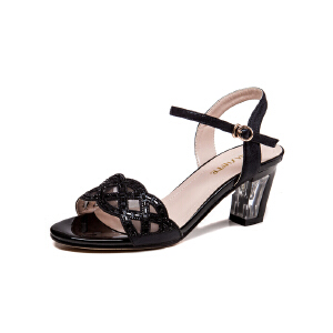 莎诗特2017新款露趾中跟凉鞋防水台镂空时装鞋水钻性感粗跟女鞋夏86063