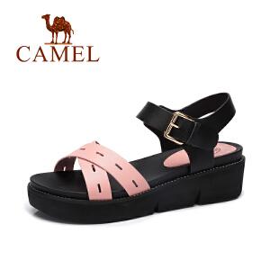 Camel/骆驼女鞋2017春夏新款休闲简约女凉鞋 露趾坡跟皮带扣凉鞋