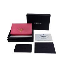 prada十字纹金属标小卡包 1MC122 玫粉色 11*6