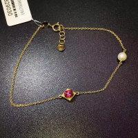 18k金镶红宝石手链