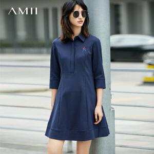 Amii[极简主义]2017春女装POLO领刺绣七分袖修身连衣裙11730821