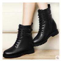 百年纪念内增高马丁靴平底复古短靴秋冬季学生圆头女靴子休闲女鞋