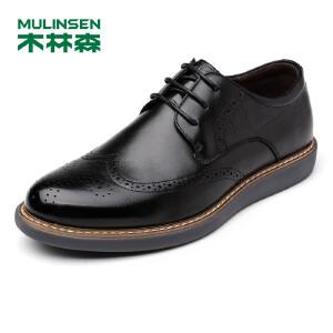 木林森男鞋休闲鞋布洛克雕花皮鞋英伦男士厚底复古板鞋子77053307