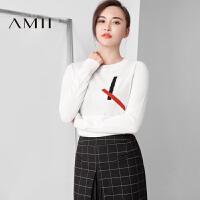 【AMII超级大牌日】[极简主义]2016秋冬圆领套头撞色针织修身长袖女毛衣11684717