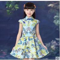 女童中式公主裙子 儿童装纯棉碎花连衣裙 大童民族风短袖旗袍儿童裙子装支持礼品卡支付