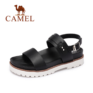 Camel/骆驼女鞋 2017春夏新款 原宿风日系厚底防滑凉鞋 一字扣凉鞋女