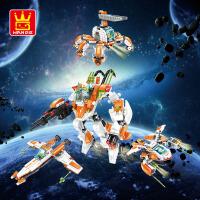 万格乐博士拼装积木玩具军事益智拼插塑料高达变形机器人男孩礼物