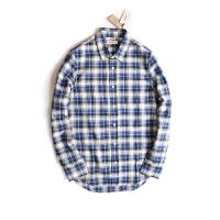 Levi's/李维斯 男款长袖衬衣LMC高端系列葡萄牙制蓝白格子纯棉清纯休闲长袖衬衣16113-0037