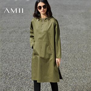 【预售】Amii 2017春个性抽绳连帽拉链宽松全棉连衣裙11780858
