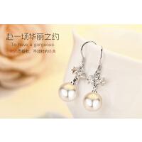 925银简约尚 韩版气质 镶钻竖条耳钉女 时珍珠镶钻精美银耳环