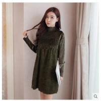 新款韩版长袖蕾丝连衣裙女百皱修身中长款拼接打底连衣裙女性时尚服装支持礼品卡支付