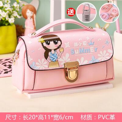 咔米嗒萌小夏公主锁扣手提笔袋小学生少女笔袋可爱小清新文具盒