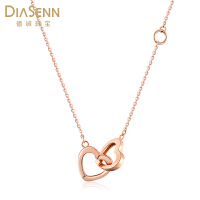 DIASENN/德诚珠宝18k金项链正品玫瑰金双心链坠简约时尚锁骨套链