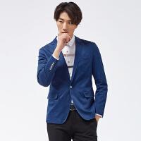 才子男装(TRIES)西服 男士2017年新款纯色简约时尚一粒单排扣修身休闲西服