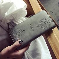 2017新款单拉链女士钱包长款拉链大容量手拿包磨砂压花叶子钱包    CY-m18