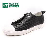 木林森男鞋 2017新款日常休闲皮质板鞋 韩版简约时尚休闲鞋05177320
