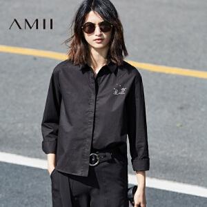 Amii2017春新品直筒翻领暗扣个性印花全棉衬衫11730215