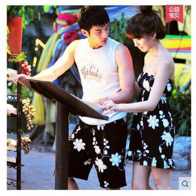 巴厘岛海边渡假 沙滩情侣套装男沙滩裤女连衣裙 情侣泳衣