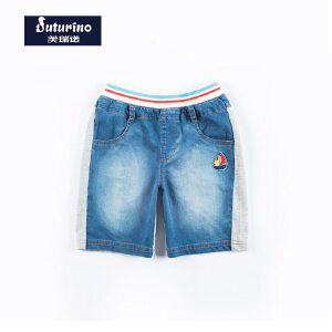 [满200减100]芙瑞诺童装男童夏装轻薄时尚牛仔裤拼接五分裤子短裤