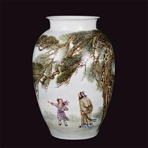 中国陶瓷书画艺术大师 危民旺 釉上瓷瓶《松下问童子》