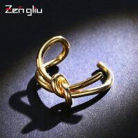 日韩打结开口戒指女镀彩金色食指环戒子韩国简约手饰品可调节大小