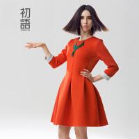女神裙初语冬装新款 修身显瘦连衣裙 女七分袖中长款气质裙子女8542422905