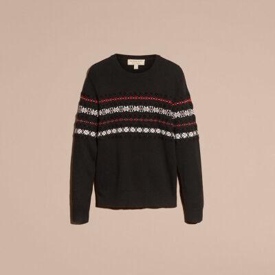 burberry费尔岛针织混纺羊绒衫