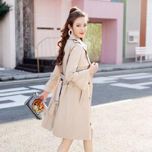 【满2件6折】白领公社 风衣 女学生老师新款女装春装中长款风衣韩版修身外套气质女式风衣 外套